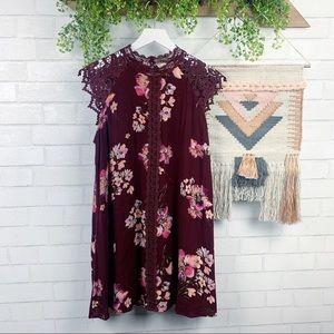 Altar'd State Floral Maroon Boho Lace Dress SZ L
